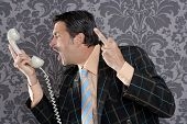 businessman shouting angry expression and rude finger talking by  telephone with retro mustache poster
