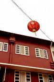Red Lantern & Retro Building