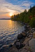 Colorful Sunset Interior Lake, Algonquin Provincial Park, Ontario, Canada