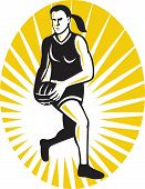foto of netball  - illustration of a netball player running with the ball set inside oval done in retro style - JPG