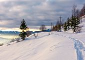 Rural Footpath Through Snowy Hillside poster