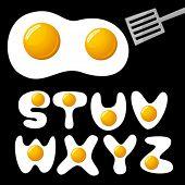 vector fried eggs alphabet