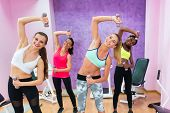 Four cheerful women holding dumbbells while doing exercises for arms and lateral abdominal muscles d poster