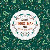 Vintage Christmas Greeting Card. Typographic Retro Design On Seamless Background. Vector Illustratio poster