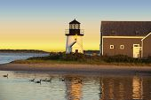 Hyannis harbor lighthouse at sunset