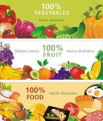 Abstract Three design banners, Vector illustration with vegetable and fruit