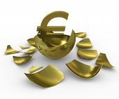 Gold euro sign hatched from eggs of gold