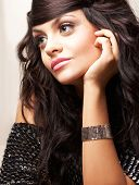 Portrait Of Beautiful Brunette With Hend Neer Face