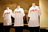 Manequins dressed in For Sale T-shirts