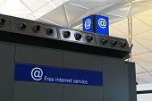 Free Internet Service Conner Provide For Passenger Or Traveler In Airport. At Sign For Free Internet poster