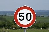 50 km/h speed limit sign.