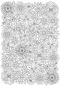 Pattern For Adult Coloring Book. Flowers. A4 Size. Ethnic, Floral, Retro, Doodle, Vector, Tribal Des poster