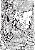 Coloring Book Page For Adult And Children. A4 Size. Black And White Abstract Fantasy Picture. Old Tr poster