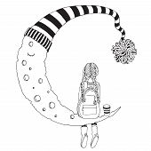 Little Girl Is Sitting On The Moon. Black And White. Coloring Book Page For Adult And Children. Dood poster