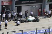 Nico Rosberg enters his pit area
