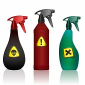Poison Spray Bottles. Toxins, Insecticides, Pesticides, Biocides With Hazard Warning Signs. Caution  poster
