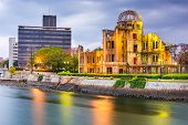 Hiroshima, Japan skyline and Atomic Dome at twilight on the river. poster