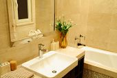 pic of lavabo  - modern bathroom with sinks and mirror  - JPG