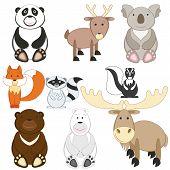 Cute Cartoon Animals Set On White Background