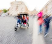 Bike Taxi Rushing On The Street In Intentional Motion Blur poster