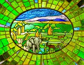 Stained Glass Window of Elephant