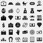 Money Deposit Icons Set. Simple Style Of 36 Money Deposit Icons For Web For Any Design poster