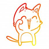 warm gradient line drawing of a happy cartoon cat meowing poster