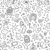 Depression Seamless Doodles Pattern. Heartbreak Pattern. Sad Texture. Depression Signs And Symptoms. poster