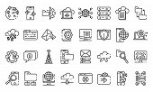 Hosting Icons Set. Outline Set Of Hosting Icons For Web Design Isolated On White Background poster