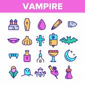 Color Protection From Vampire Vector Linear Icons Set. Weapons Vampire Hunter Outline Cliparts. Hall poster