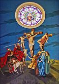 foto of assis  - Painting of Jesus Christ crucified on the wall of the cathedral of Assis City Sao Paulo State Brazil - JPG