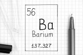 The Periodic Table Of Elements. Handwriting Chemical Element Barium Ba With Black Pen, Test Tube And poster