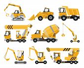 Big Set Of Construction Equipment. Special Machines For The Construction Work. Forklifts, Cranes, Ex poster
