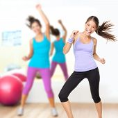 stock photo of dancing  - Fitness dance studio class - JPG