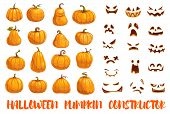Constructor Of Halloween Pumpkins With Emotional Faces. Jacklantern Parts, Autumn Holiday Symbol Or  poster