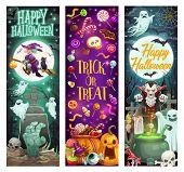 Happy Halloween Holiday Monsters, Pumpkins And Witch Ghosts. Vector Halloween Trick Or Treat Party S poster