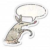 cartoon sneaky rat with speech bubble distressed distressed old sticker poster