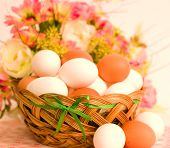 Basket with Easter eggs and spring flowers close-up