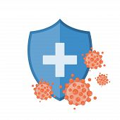 Blue Shield Protecting From Virus Germs And Bacteria. Immune System Concept. Vector Illustration poster