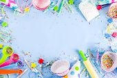Sweet Baking Concept For Birthday Holiday Party, Cooking Background With Baking Stuff - Rolling Pin, poster