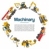 Machinery And Construction Equipment Cars Vector Poster. Special Machines For The Building Work. For poster