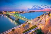 Budapest, Hungary. Aerial Cityscape Image Of Budapest Panorama With Liberty Bridge And Danube River  poster