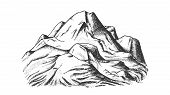 Snow Covering Mountain Landscape Hand Drawn Vector. Hill Crest Mountain Place For Extreme Sport Ski- poster