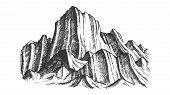 Peak Of Rocky Mountain Landscape Monochrome Vector. Mountain Versant Rock Peak Felsenwand Adventure  poster