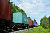 Freight Train, Transportation Of Railway Cars By Cargo Containers Shipping. Railway Logistics Concep poster