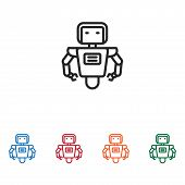 Robot Icon Isolated On White Background. Robot Icon In Trendy Design Style. Robot Vector Icon Modern poster