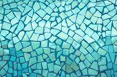 Broken Tiles Mosaic Seamless Pattern. Green Dark Tile Wall High Resolution Photo Or Brick Seamless W poster