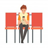 Teen Boy Waiting At Airport Terminal For Flight, Boy Sitting On Chair With Smartphone At Waiting Roo poster
