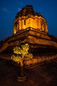 Wat Chedi Luang Temple At Night The Royal Stupa Chiang Mai City Thailand poster