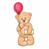 teddy with balloon and message
